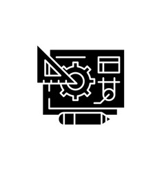 digital product management black icon sign vector image