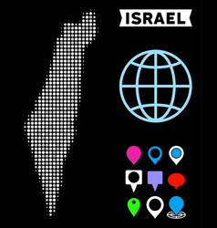 Dotted halftone israel map vector