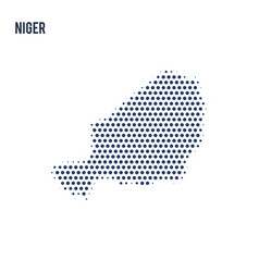 dotted map of niger isolated on white background vector image