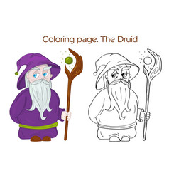 druid character coloring page vector image