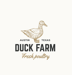 Duck farm fresh poultry abstract sign vector