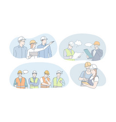 engineering and construction workers concept vector image