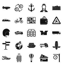exchange icons set simple style vector image