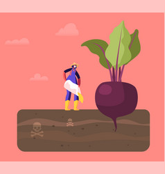 Female farmer character in working robe pour out vector