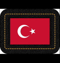 Flag of turkey icon on black leather backdrop vector