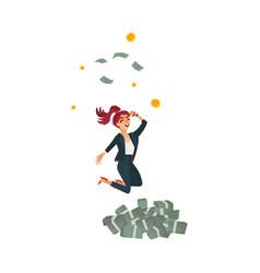 Flat business woman dancing near money vector