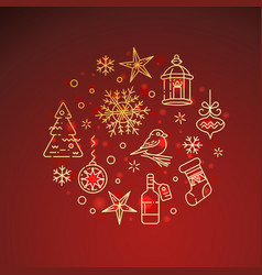 flat golden christmas icons on red background vector image