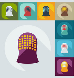 Flat modern design with shadow icons thimble vector