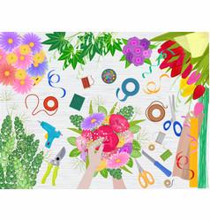floristics florists hands making beautiful vector image