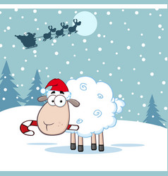 Funny christmas sheep cartoon character vector