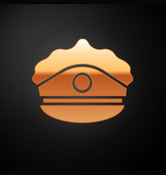 Gold police cap with cockade icon isolated on vector