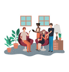 group people using technology devices in vector image