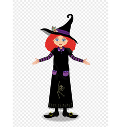 halloween of young witch girl with ginger hair on vector image