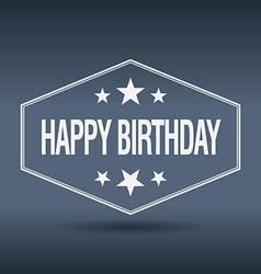 Happy birthday hexagonal white vintage retro style vector