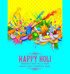 happy holi background for festival of colors vector image