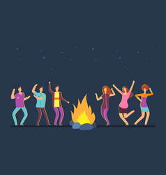 Happy people group dancing at campfire music vector