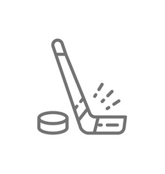hockey stick and puck line icon vector image