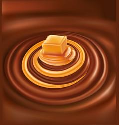 Hot chocolate with caramel swirl vector