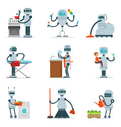 Housekeeping household robot doing home cleanup vector