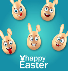Humor easter card with cheerful eggs with ears vector