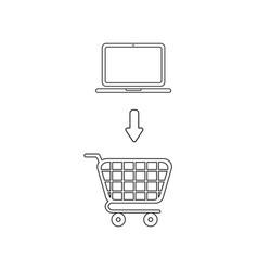 Icon concept laptop into shopping cart black vector