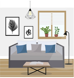 Interior a living room studio with potted vector