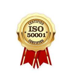 ISO 50001 standard certified rosette - energy vector