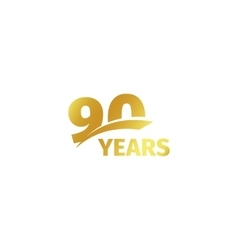 Isolated abstract golden 90th anniversary logo on vector