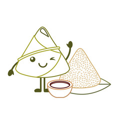 Kawaii rice dumpling with sauce cartoon vector