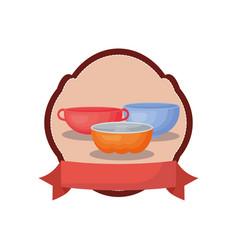 Kitchenware bowls cake handles banner emblem vector