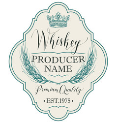 Label for whiskey with ears barley vector