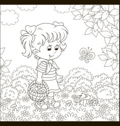Little girl mushroomer in a forest vector