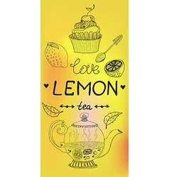 love lemon tea card vector image