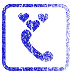 Love phone call framed textured icon vector