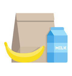 lunch icon school meal in a paper bag vector image