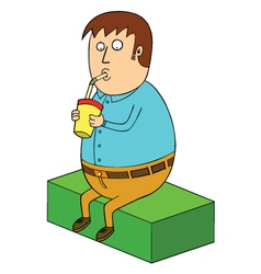 Man drinking milkshake vector