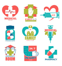 Medical cross and heart icons for first aid vector