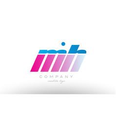 mh m h alphabet letter combination pink blue bold vector image