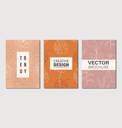 modern stylish floral poster templates vector image