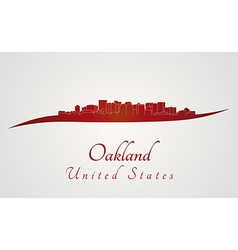 Oakland skyline in red vector