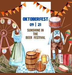 Oktoberfest frame with costume beer flag belgium vector