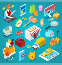 Online shopping isometric 3d set vector