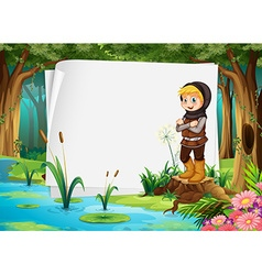 Paper design with hunter in the woods vector image