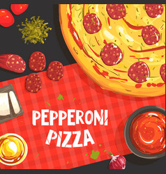pepperoni pizza banner template italian vector image