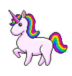 pixel cute unicorn isolated vector image
