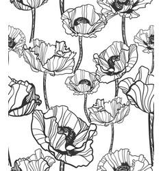 poppy pattern sketch line white black red vector image