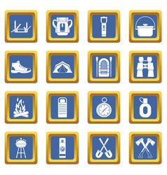 Recreation tourism icons set blue vector