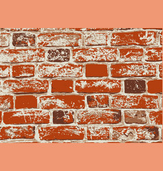 Red old grunge brick wall vector