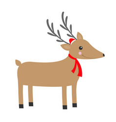 santa reindeeer head cute cartoon deer with horns vector image