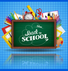 school supplies and green blackboard vector image